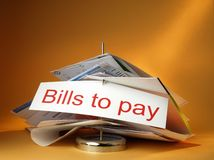 Bills to pay. On a colored background Royalty Free Stock Photography