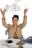 Bills up in the air. Woman tosses her bills up in the air Stock Image