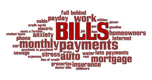 Bills Word Cloud Stock Image
