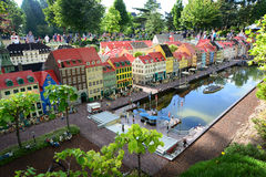 Billund, Denmark - July 26, 2016: Lego houses of Nyhavn in Legoland. Copenhagen's most famous street is made of Lego Royalty Free Stock Photo
