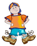 Billy with Big Shoes. Illustration of young boy wearing grown-up shoes vector illustration