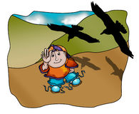 Billy with the Crows. Illustration of young boy waving at crows flying over head stock illustration