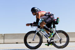 Billy Flores in the Coeur d' Alene Ironman cycling event Stock Image