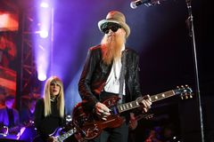 Billy Gibbons. NEW YORK, NY - NOVEMBER 29: Musician Billy Gibbons performs at America Salutes You and Wall Street Rocks Presents Guitar Legends For Heroes at royalty free stock image