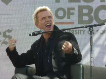 Billy Idol. The most animated celebrity I have ever photographed.  What a delight.  I captured this photo while attending the Los Angeles Times Book Fair in 2014 Royalty Free Stock Image