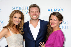 Billy Miller,Melissa Claire Egan,Chrishell Stause. LOS ANGELES - MAY 3: Melissa Claire Egan, Billy Miller, Chrishell Stause arriving at the Something Borrowed royalty free stock image