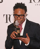 Billy Porter. Broadway actor Billy Porter kisses the statuette of Antoinette Perry as he greets photographers in the press room following the 67th annual tony royalty free stock photography