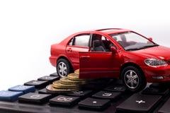 Bilmodell och mynt Royaltyfri Fotografi