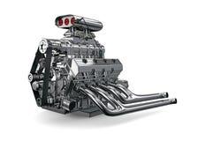 Bilmotor på vit bakgrund Royaltyfria Foton