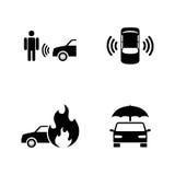 Bilnödläge Enkla släkta vektorsymboler royaltyfri illustrationer