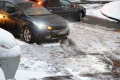 Bilolycka i vinter royaltyfri foto