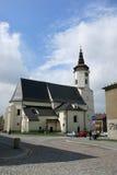 BILOVEC TJECKIEN - JULI 25: St Nicolas Church på Juli 25 Arkivbild