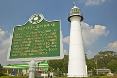 Biloxi Lighthouse and information sign in Biloxi, MS Royalty Free Stock Photo