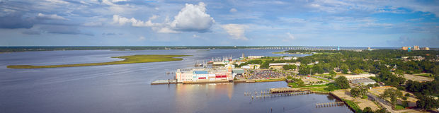 Biloxi, Mississippi back bay with casinos and other buildings Stock Photography