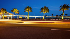 Biloxi, Mississippi Palm Trees and Traffic at Night Royalty Free Stock Image