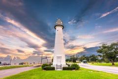 Biloxi, Mississippi USA an Biloxi-Leuchtturm stockfotografie