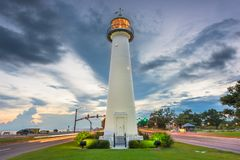 Biloxi, Mississippi USA an Biloxi-Leuchtturm lizenzfreies stockfoto