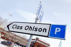 Bilparkeringstecken på Clas Ohlson arkivfoto