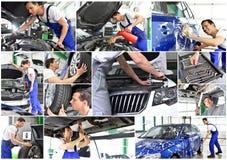 Bilreparation - mekaniker i ett seminarium - biltvätt - collage med di arkivbilder