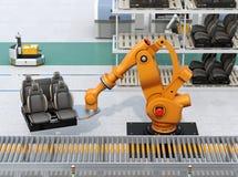 Bilsäten för robotic arm för tungvikt bärande i bilenhetsproduktionslinje Royaltyfri Fotografi