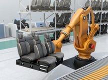 Bilsäten för robotic arm för tungvikt bärande i bilenhetsproduktionslinje Arkivfoton