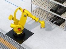 Bilsäten för robotic arm för tungvikt bärande i bilenhetsproduktionslinje Royaltyfria Bilder