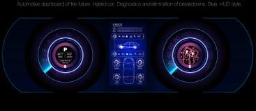 Bilservice i stilen av HUD, den infographic uien för bilar, analys och diagnostik i huden utformar, den futuristiska användargrän stock illustrationer