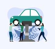 Bilservice och reparation, arbetare som fixar bilen, affärsidé vektor illustrationer