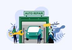 Bilservice och reparation, arbetare som fixar bilen, aff?rsid? vektor illustrationer