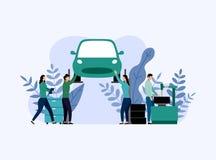 Bilservice och reparation, arbetare som fixar bilen, aff?rsid? stock illustrationer