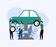 Bilservice och reparation, arbetare som fixar bilen, aff?rsid? royaltyfri illustrationer