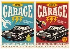 Bilservice och retro affischsamling för garage stock illustrationer