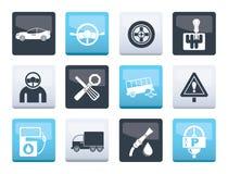 bilservice och trans.symboler över färgbakgrund stock illustrationer