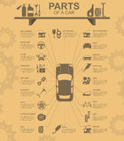 Bilservice, reparation Infographics royaltyfri illustrationer