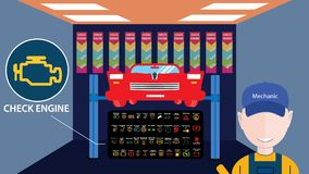 Bilservice shoppar med den stora mekanikeravataren framme Kontrollmotor - Yup, fortfarande där meddelande Vektorillustration av d stock illustrationer