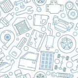 Bilservicemodell Bakgrund för vektor för delar och för hjälpmedel för automatisk för mekaniker för motormotorelement sömlös royaltyfri illustrationer
