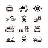 Bilsjälvkontroll, futuristiska körande intelligenta symboler för medelsystemvektor royaltyfri illustrationer