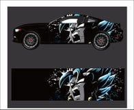 Bilsjaldekal Abstrakt remsa för sjal, klistermärke och dekal för springa bil stock illustrationer