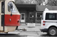 bilspårvagn Arkivbild