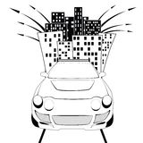 bilstad vektor illustrationer