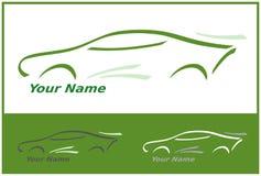 Bilsymbol i gräsplan för Logo Design Arkivfoton
