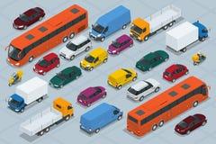 Bilsymboler Plan isometrisk högkvalitativ för transportbil för stad 3d uppsättning för symbol Bil skåpbil, lastlastbil, av-väg, b Arkivfoto