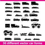 Bilsymbolsuppsättning. 30 olika vektorbilformer Royaltyfria Foton