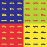 Bilsymbolsuppsättningar på en kulör bakgrund Arkivfoto
