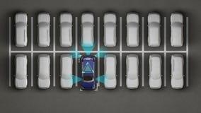 Bilteknologi Auto parkering, IOT-teknologi, internet av tingteknologi stock illustrationer
