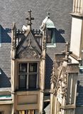 Biltmore House. Completed in 1895, a view of an ornate window during the rooftop tour of this American castle found in Asheville, North Carolina stock photography