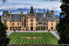 Biltmore House in Foreground of Blue Ridge Mountians Royalty Free Stock Photo