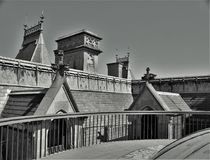Biltmore House Rooftop. Rooftop of Biltmore House.  Completed in 1895, this American castle is found in Asheville, North Carolina Royalty Free Stock Images