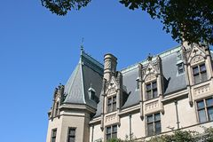 Biltmore Mansion. Detail of Biltmore Mansion in North Carolina against a blue sky Stock Photography