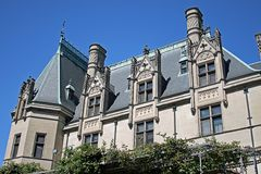 Biltmore Mansion. Detail of Biltmore Mansion in North Carolina against a blue sky Royalty Free Stock Image